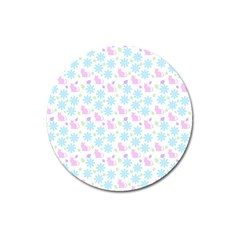 Cats And Flowers Magnet 3  (round)