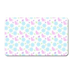 Cats And Flowers Magnet (rectangular)