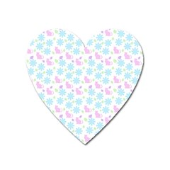 Cats And Flowers Heart Magnet