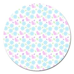 Cats And Flowers Magnet 5  (round)