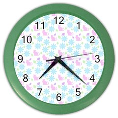 Cats And Flowers Color Wall Clocks