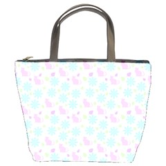 Cats And Flowers Bucket Bags