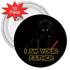 Darth Vader Cat 3  Buttons (10 Pack)  by Valentinaart