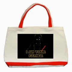Darth Vader Cat Classic Tote Bag (red) by Valentinaart