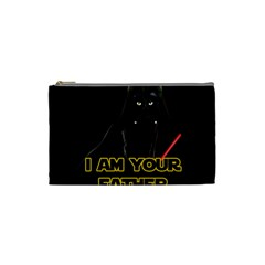 Darth Vader Cat Cosmetic Bag (small)  by Valentinaart
