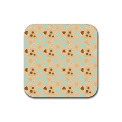 Beige Dress Rubber Coaster (square)