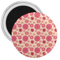 Cream Retro Dots 3  Magnets