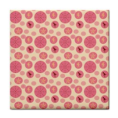 Cream Retro Dots Face Towel