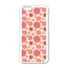 Cream Retro Dots Apple Iphone 6/6s White Enamel Case by snowwhitegirl