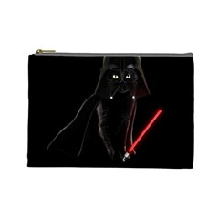 Darth Vader Cat Cosmetic Bag (large)  by Valentinaart