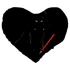 Darth Vader Cat Large 19  Premium Heart Shape Cushions by Valentinaart