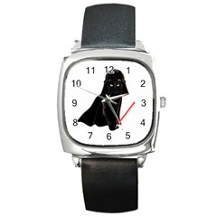 Darth Vader Cat Square Metal Watch by Valentinaart