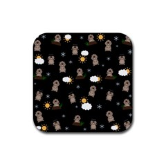 Groundhog Day Pattern Rubber Coaster (square)  by Valentinaart