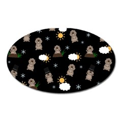 Groundhog Day Pattern Oval Magnet by Valentinaart