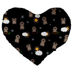 Groundhog Day Pattern Large 19  Premium Flano Heart Shape Cushions by Valentinaart