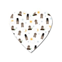 Groundhog Day Pattern Heart Magnet by Valentinaart
