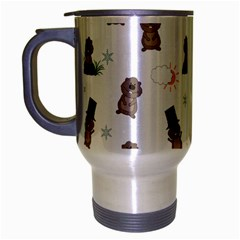 Groundhog Day Pattern Travel Mug (silver Gray) by Valentinaart