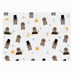 Groundhog Day Pattern Large Glasses Cloth (2 Side) by Valentinaart
