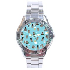 Groundhog Day Pattern Stainless Steel Analogue Watch by Valentinaart
