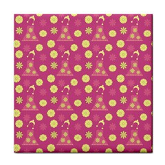 Yellow Flowers Dress Tile Coasters