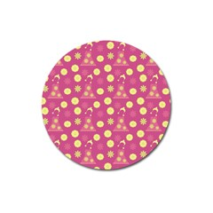 Yellow Flowers Dress Magnet 3  (round)