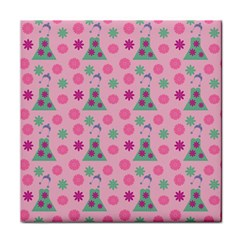 Green Dress Pink Tile Coasters