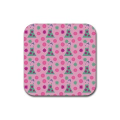 Green Dress Pink Rubber Square Coaster (4 Pack)  by snowwhitegirl