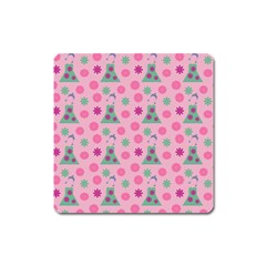 Green Dress Pink Square Magnet