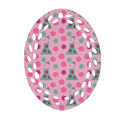 Green Dress Pink Ornament (oval Filigree) by snowwhitegirl