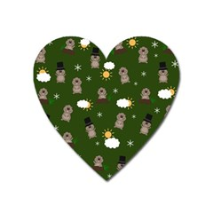 Groundhog Day Pattern Heart Magnet