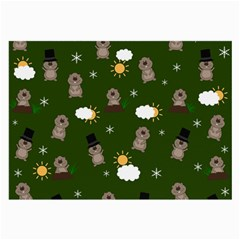 Groundhog Day Pattern Large Glasses Cloth by Valentinaart