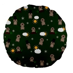 Groundhog Day Pattern Large 18  Premium Flano Round Cushions by Valentinaart