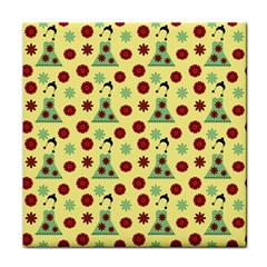 Green Dress Yellow Tile Coasters