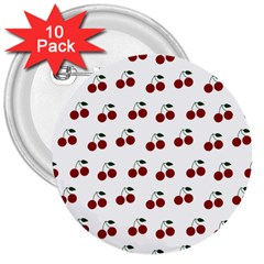 Cherries 3  Buttons (10 Pack)