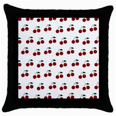 Cherries Throw Pillow Case (black) by snowwhitegirl
