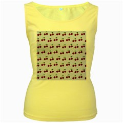 Blue Cherries Women s Yellow Tank Top