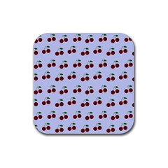 Blue Cherries Rubber Coaster (square)