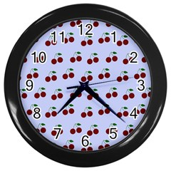 Blue Cherries Wall Clocks (black)
