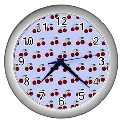 Blue Cherries Wall Clocks (silver)