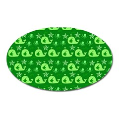 Green Sea Whales Oval Magnet