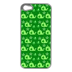 Green Sea Whales Apple Iphone 5 Case (silver) by snowwhitegirl