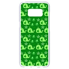 Green Sea Whales Samsung Galaxy S8 White Seamless Case