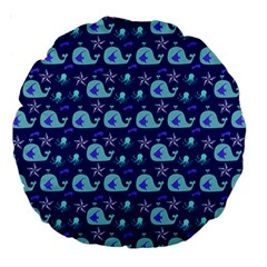 Blue Sea Whales Large 18  Premium Round Cushions