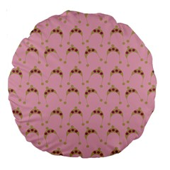 Pink Beige Hats Large 18  Premium Round Cushions