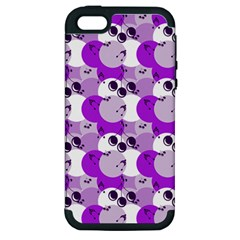 Purple Cherry Dots Apple Iphone 5 Hardshell Case (pc+silicone) by snowwhitegirl