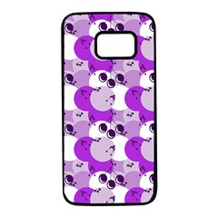 Purple Cherry Dots Samsung Galaxy S7 Black Seamless Case
