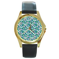 Ocean Cherry Round Gold Metal Watch
