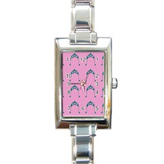 Pink Flower Teal Hat Rectangle Italian Charm Watch