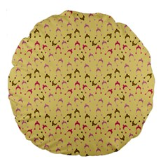 Hats Pink Beige Large 18  Premium Round Cushions