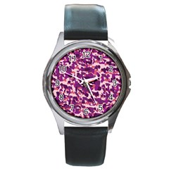 Pink Camo Round Metal Watch